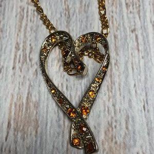 Vintage November Topaz Heart Pendent Necklace
